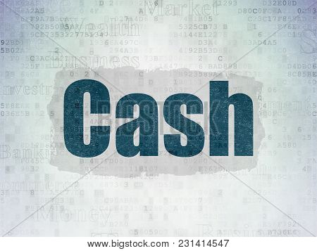 Currency Concept: Painted Blue Text Cash On Digital Data Paper Background With   Tag Cloud