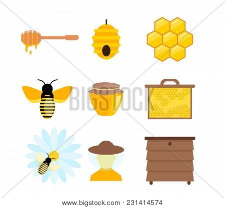 Vector Illustration Of Colorful Pictures And Elements Of Honey Bumble, Others Symbols Of Apiculture.