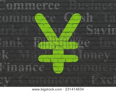 Money Concept: Painted Green Yen Icon On Black Brick Wall Background With  Tag Cloud