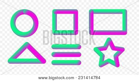 Vector Illustration Set Of Multicolored Convex Volumetric Holographic Border Frames In Transparent B