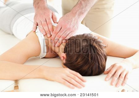 Man Massaging A Woman's Neck
