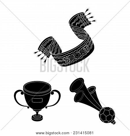 Fan And Attributes Black Icons In Set Collection For Design. Sports Fan Vector Symbol Stock  Illustr