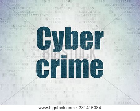 Protection Concept: Painted Blue Word Cyber Crime On Digital Data Paper Background