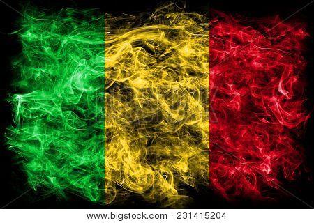 Mali Smoke Flag On A Black Background