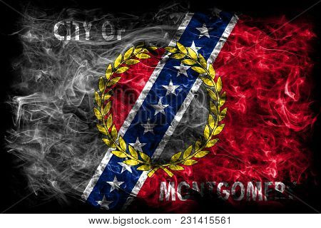 Montgomery City Smoke Flag, Alabama State, United States Of America