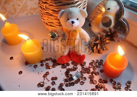 White Little Terry Teddy Bear With Three Yellow Wax Burn Candles With Sparks For Decoration Home On