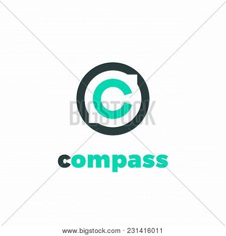 Minimalist Vector Logotype Of Stylized Compass. Logistics Logo Concept.
