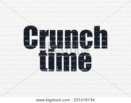 Finance Concept: Painted Black Text Crunch Time On White Brick Wall Background
