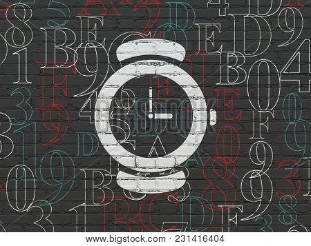 Timeline Concept: Painted White Hand Watch Icon On Black Brick Wall Background With  Hexadecimal Cod
