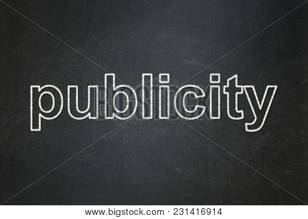 Advertising Concept: Text Publicity On Black Chalkboard Background