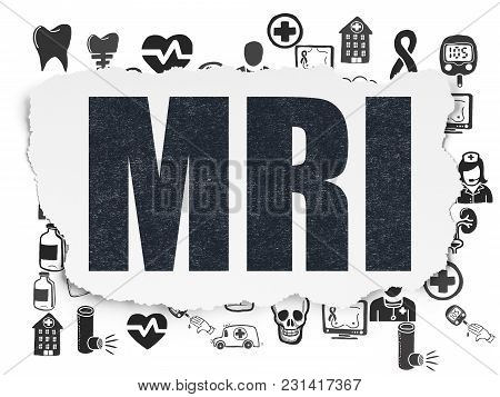 Healthcare Concept: Painted Black Text Mri On Torn Paper Background With  Hand Drawn Medicine Icons