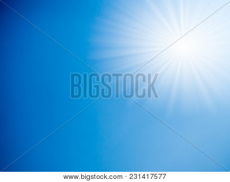 Blue Sky With Sunray Background In Sunny Day