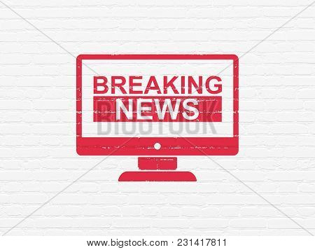 News Concept: Painted Red Breaking News On Screen Icon On White Brick Wall Background