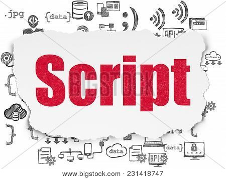 Database Concept: Painted Red Text Script On Torn Paper Background With  Hand Drawn Programming Icon
