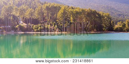 Pano Of Lake Doxa In Greece. Famous Touristic Destination.