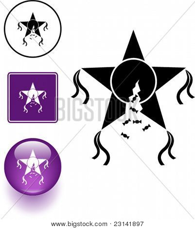 broken pinata symbol sign and button