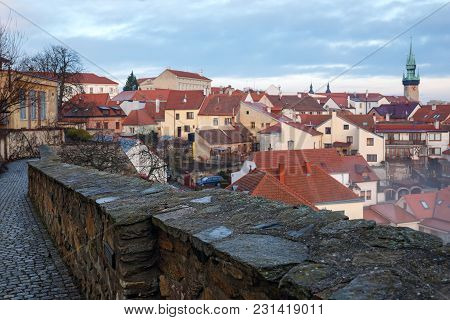 View Of The Old Town From The Observation Deck On A Cloudy Winter Day. Town Of Znojmo, South Moravia