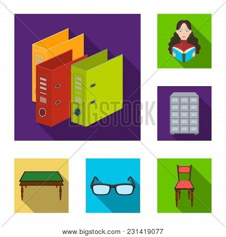 Library And Bookstore Flat Icons In Set Collection For Design. Books And Furnishings Vector Symbol S