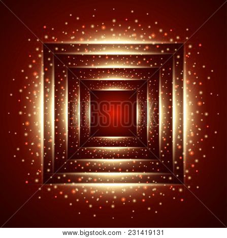 Symmetry Square Background. Red Objects Vector Illustration