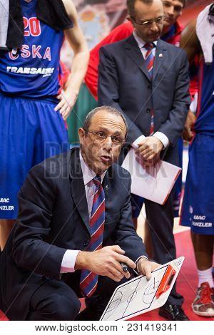 Samara, Russia - December 01: Bc Cska Head Coach Ettore Messina During A Timeout Of The Bc Krasnye K