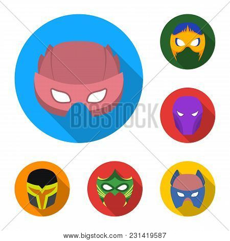 Carnival Mask Flat Icons In Set Collection For Design.mask On The Eyes And Face Vector Symbol Stock