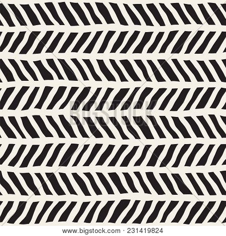 Simple Ink Geometric Pattern. Monochrome Black And White Strokes Background. Hand Drawn Ink Texture