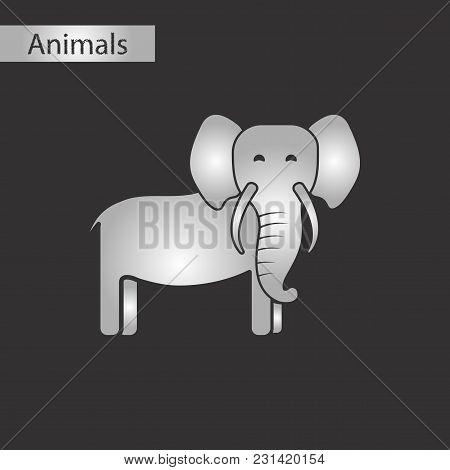 Black And White Style Icon Of Elephant