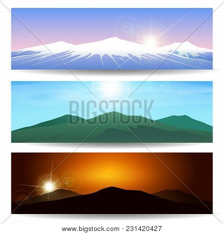 Set Of Different Mountain Landscapes. Wild Nature Vector Banner Set.