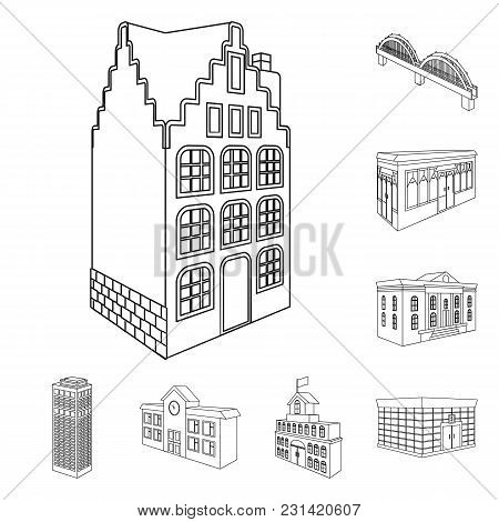 Building And Architecture Outline Icons In Set Collection For Design.the Building And Dwelling Vecto