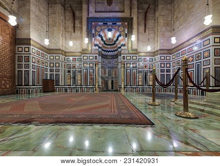 Cairo, Egypt - December 16, 2017: Interior Of The Tomb Of The Reza Shah Of Iran, Al Rifaii Mosque (r