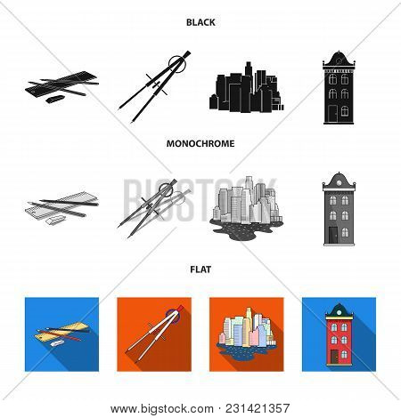 Drawing Accessories, Metropolis, House Model. Architecture Set Collection Icons In Black, Flat, Mono