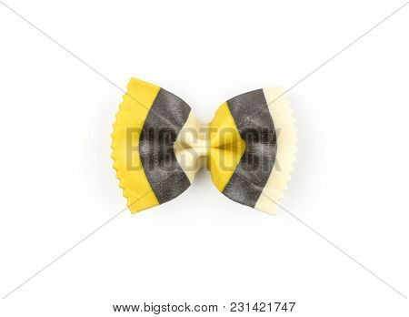 Farfalle Pasta With Curcuma And Cuttlefsh Ink Isolated On White Background Top View One Raw Classic