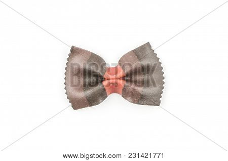 Farfalle Pasta With Black Cuttlefish Ink Isolated On White Background Top View One Raw Classic Tradi