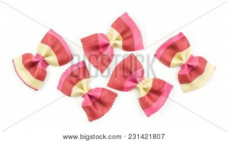 Farfalle Pasta With Red Beet And Paprika Isolated On White Background Top View Set Raw Classic Tradi