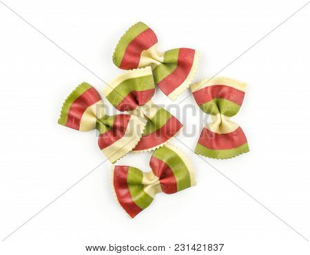 Farfalle Pasta With Green Spinach And Red Beet Isolated On White Background Top View Set Raw Classic