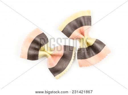 Farfalle Pasta With Black Cuttlefish Ink And Red Beet Isolated On White Background Top View Two Raw