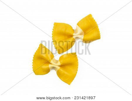 Farfalle Pasta With Curcuma Isolated On White Background Top View Two Raw Classic Traditional Italia