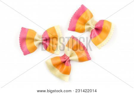Farfalle Pasta With Orange Carrot And Red Beetroot Isolated On White Background Top View Three Raw C