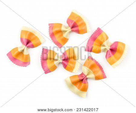 Farfalle Pasta With Orange Carrot And Red Beetroot Isolated On White Background Top View Five Raw Cl