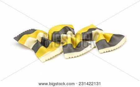Farfalle Pasta With Curcuma And Cuttlefsh Ink Isolated On White Background Raw Classic Traditional I