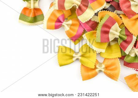 Farfalle Pasta With Vegetables Stack Isolated On White Background Top View Raw Classic Traditional I