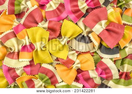 Farfalle Pasta With Vegetables Background Top View Raw Classic Traditional Italian Colourful