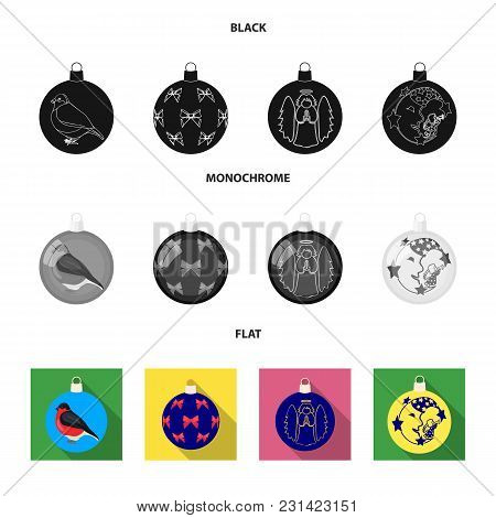New Yeartoys Black, Flat, Monochrome Icons In Set Collection For Design.christmas Balls For A Treeve