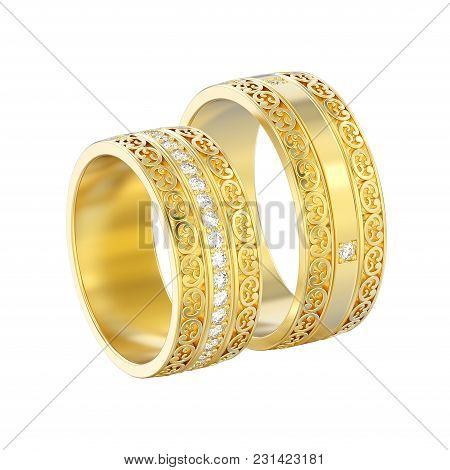 3d Illustration Isolated Two Yellow Gold Decorative Wedding Bands Carved Out Rings With Ornament On
