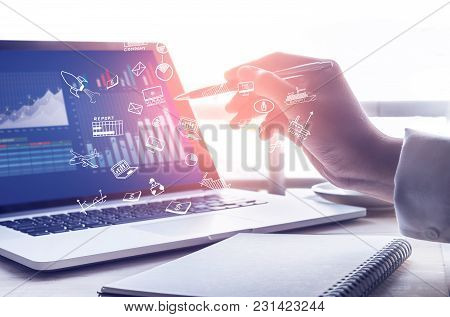 Businessman Using Modern Laptop With Graph.business Startup.analyze Strategy Concepts Businessman Us