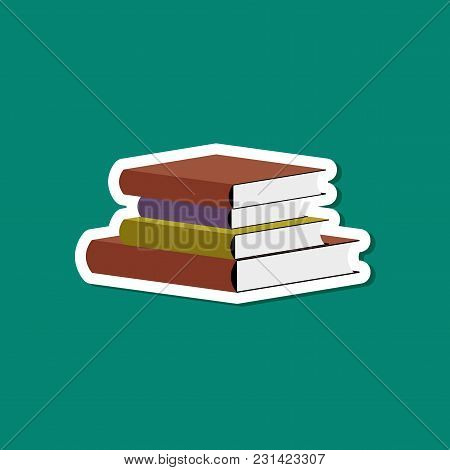 Paper Sticker On Stylish Background Of Stack Books
