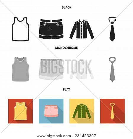 Shirt With Long Sleeves, Shorts, T-shirt, Tie.clothing Set Collection Icons In Black, Flat, Monochro