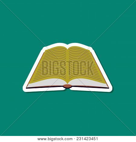 Paper Sticker On Stylish Background Of Open Book