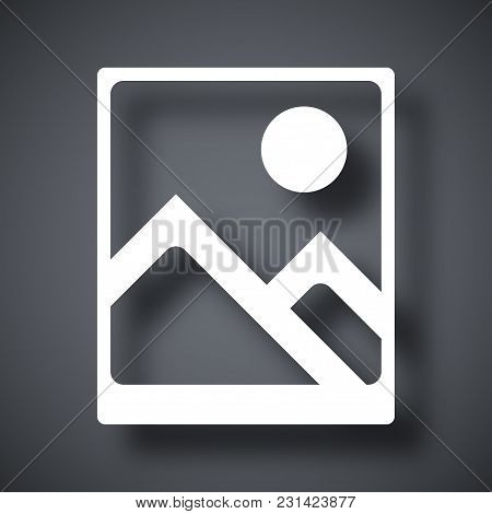 Vector Photograph Icon On Dark Gray Background With Shadow