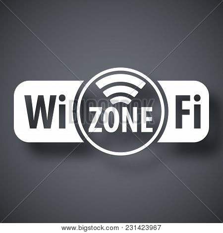 Vector Wi-fi Zone Icon On Dark Gray Background With Shadow